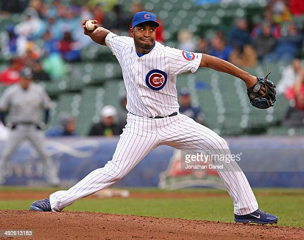 Jose Veras of the Chicago Cubs pitches against the Milwaukee Brewers at Wrigley Field on May 16 2014 in Chicago Illinois The Brewers defeated the...