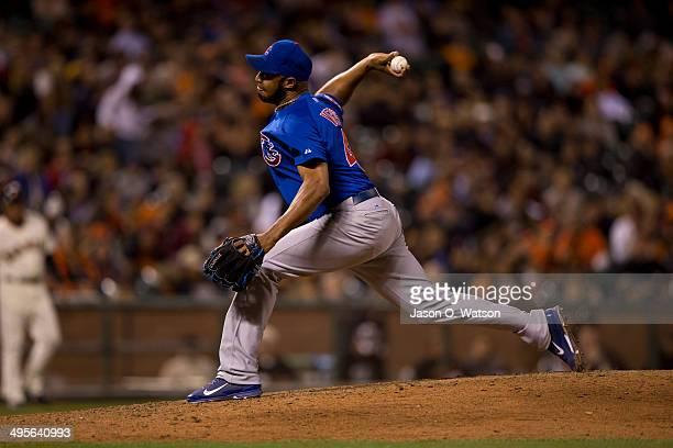 Jose Veras of the Chicago Cubs pitches against the San Francisco Giants during the eighth inning at ATT Park on May 27 2014 in San Francisco...