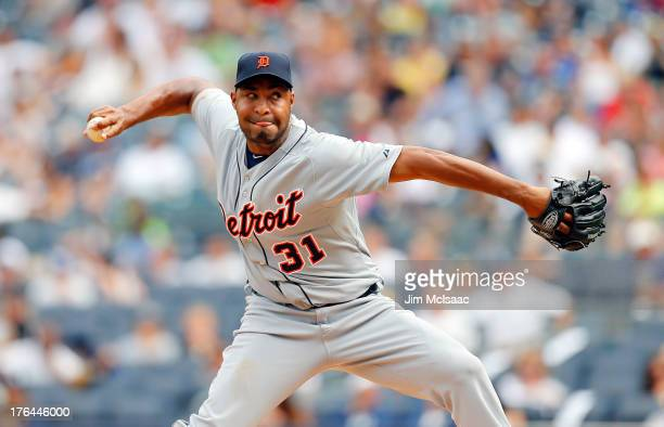 Jose Veras of the Detroit Tigers in action against the New York Yankees at Yankee Stadium on August 11 2013 in the Bronx borough of New York City The...