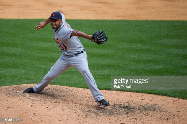 Jose Veras of the Detroit Tigers pitches during the game against the New York Yankees at Yankee Stadium on August 11 2013 in the Bronx borough of...