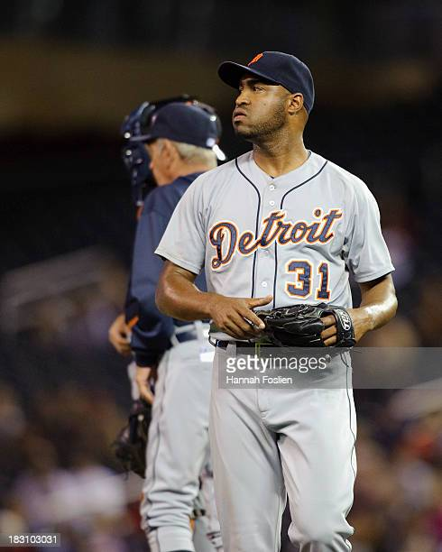 Jose Veras of the Detroit Tigers reacts during the game against the Minnesota Twins on September 23 2013 at Target Field in Minneapolis Minnesota