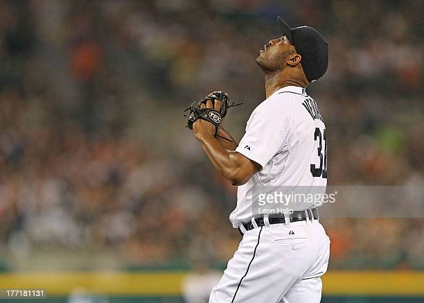 Jose Veras of the Detroit Tigers walks off the field at the end of the eighth inning during the game against the Minnesota Twins at Comerica Park on...