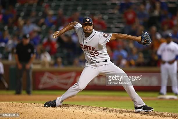 Jose Veras of the Houston Astros at Globe Life Park in Arlington on September 24 2014 in Arlington Texas
