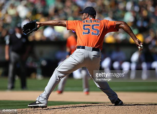 Jose Veras of the Houston Astros pitches against the Oakland Athletics during the game at Oco Coliseum on Sunday September 7 2014 in Oakland...