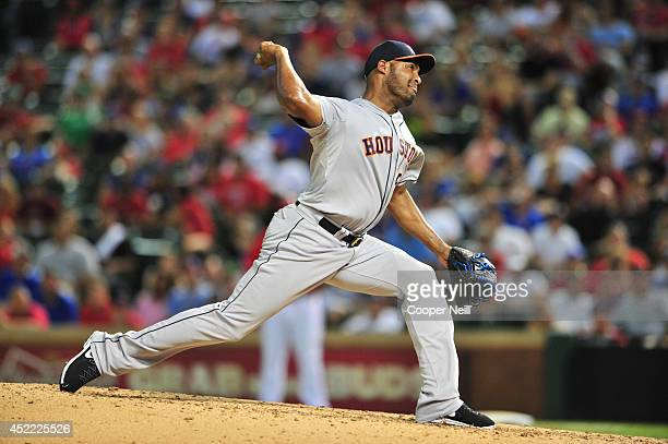 Jose Veras of the Houston Astros pitches against the Texas Rangers on July 9 2014 at Globe Life Park in Arlington in Arlington Texas