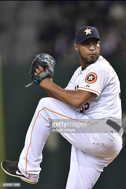 Jose Veras of the Houston Astroseim pitches in the eighth inning during the game two of Samurai Japan and MLB All Stars at Tokyo Dome on November 14...