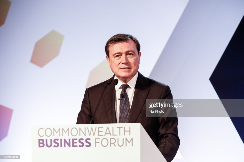 Jose Vinals the Chairman of Standard Chartered Bank is giving his opening remarks at the Business Forum Opening Session on Delivering a Prosperous Commonwealth For All during the Commonwealth Heads of Government Meeting in London, United Kingdom, April 16, 2018.