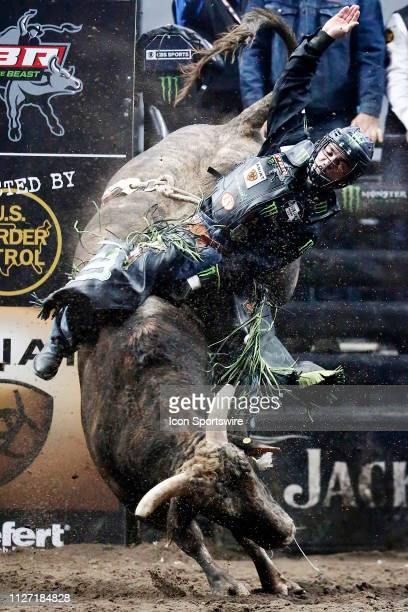 Jose Vitor Leme rides bull Air Assault during the Professional Bull Riders Iron Cowboy presented by Ariat on February 23 at the Staples Center Los...
