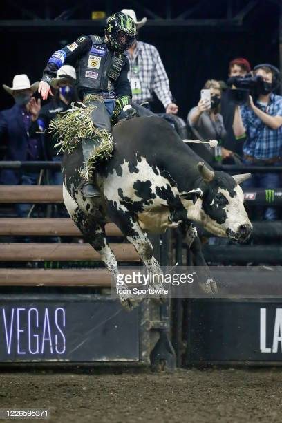 Jose Vitor Leme rides bull Marquis Metal Works Draggin Up during the Monster Energy Team Challenge on July 11 at the Denny Sanford PREMIER Center...