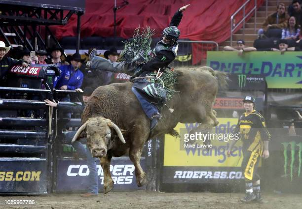 Jose Vitor Leme rides Cochise during the PBR Unleash The Beast bull riding event at Madison Square Garden on January 04 2019 in New York City