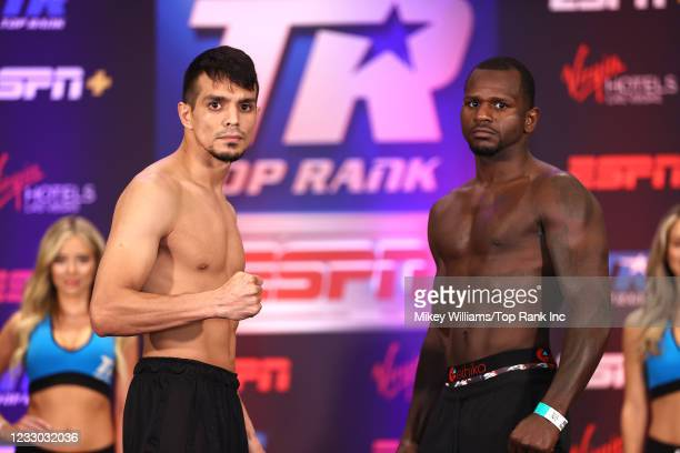 Jose Zepeda and Hank Lundy pose during the weigh-in at Virgin Hotels Las Vegas on May 21, 2021 in Las Vegas, Nevada.