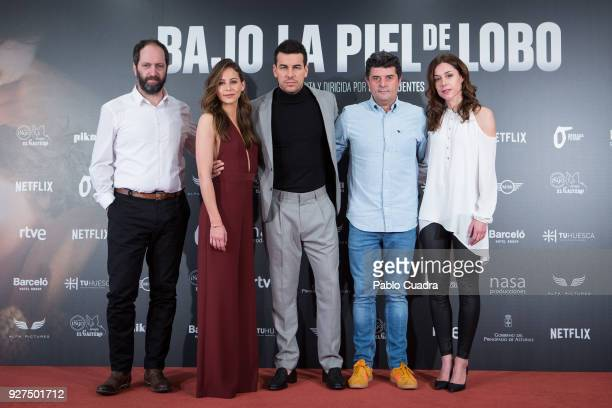 Josean Bengoetxea Irene Escolar Mario Casas Samu Fuentes and Ruth Diaz attend 'Bajo La Piel del Lobo' photocall on March 5 2018 in Madrid Spain