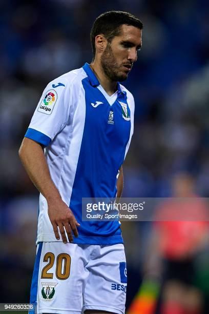 Joseba Zaldua of Leganes looks on during the La Liga match between Leganes and Deportivo La Coruna at Estadio Municipal de Butarque on April 20 2018...