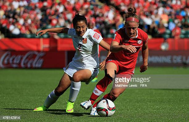 Josee Buchanan of Canada and Shanshan Liu of China PR challenge for the ball during the FIFA Women's World Cup 2015 Group A match between Canada and...