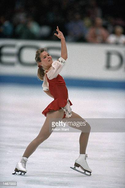 Josee Chouinard of Canada performs her routine during the World Figure Skating Championships in Prague Czech Republic on March 14 1993