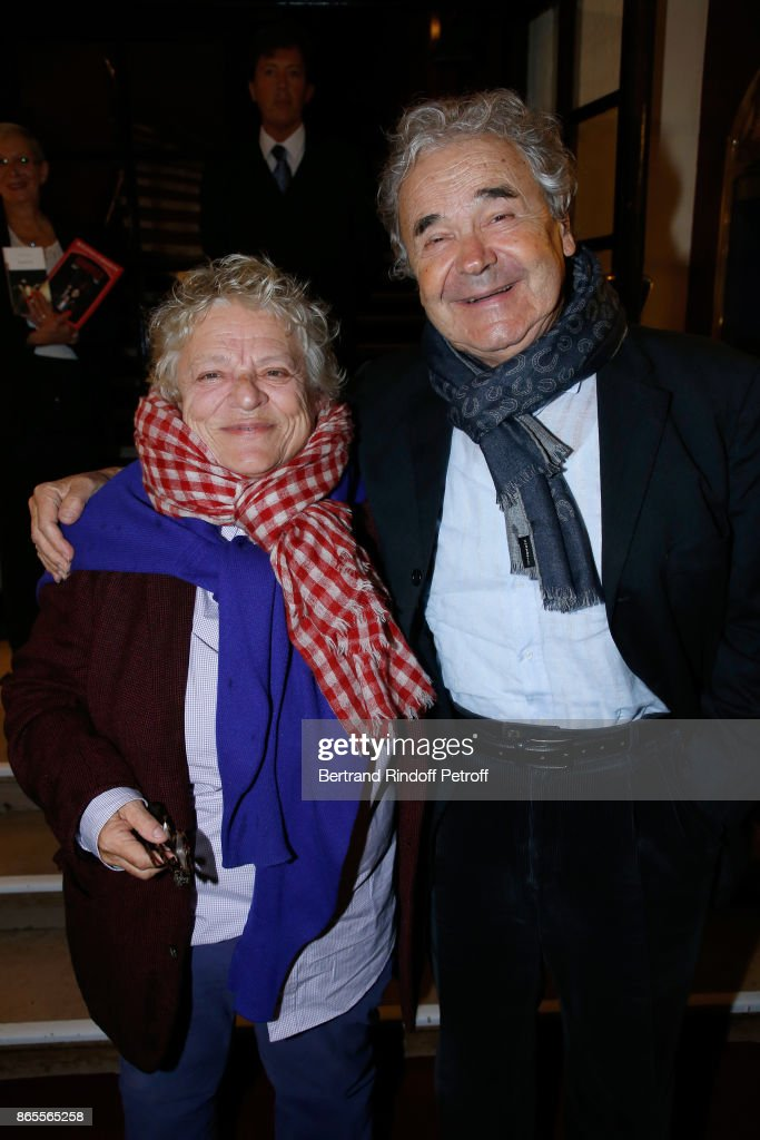 Josee Dayan and Pierre Perret attend the 'Ramses II' Theater Play at Theatre des Bouffes Parisiens on October 23, 2017 in Paris, France.