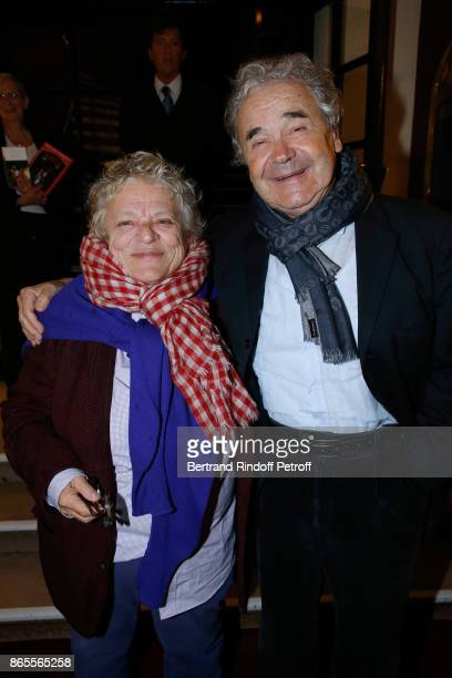 """Josee Dayan and Pierre Perret attend the """"Ramses II"""" Theater Play at Theatre des Bouffes Parisiens on October 23, 2017 in Paris, France."""