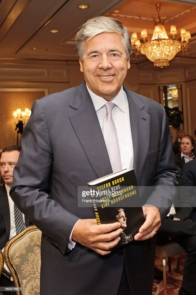 Josef Ackermann attends the presentation of the book 'Spaete Reue. Josef Ackermann. Eine Nahaufnahme' by the former head of communications at Deutsche Bank, Stefan Baro, at the Regent Hotel on September 12, 2013 in Berlin, Germany.