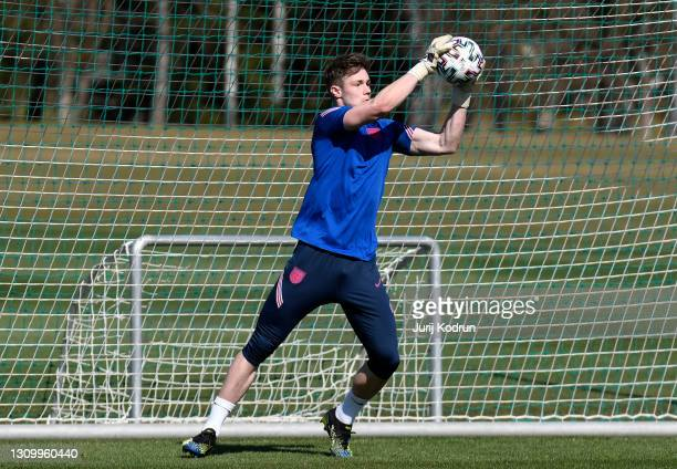 Josef Bursik of England makes a save during an England Under-21 Training Session at NNC Brdo on March 30, 2021 in Kranj, Slovenia.