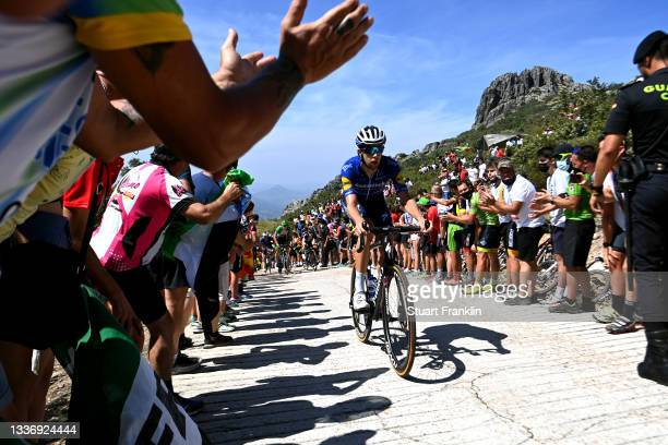 Josef Cerny of Czech Republic and Team Deceuninck - Quick-Step climbs the Pico Villuercas while fans cheer during the 76th Tour of Spain 2021, Stage...