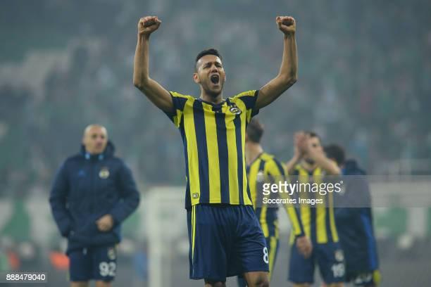 Josef De Souza Dias of Fenerbahce celebrates the victory during the Turkish Super lig match between Bursaspor v Fenerbahce at the Timsah Arena on...