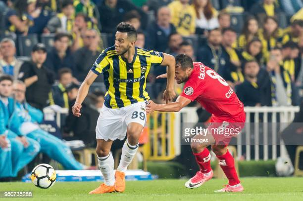 Josef de Souza Dias of Fenerbahce Charles Fernando Basílio da Silva of Antalyaspor AS during the Turkish Spor Toto Super Lig match Fenerbahce AS and...
