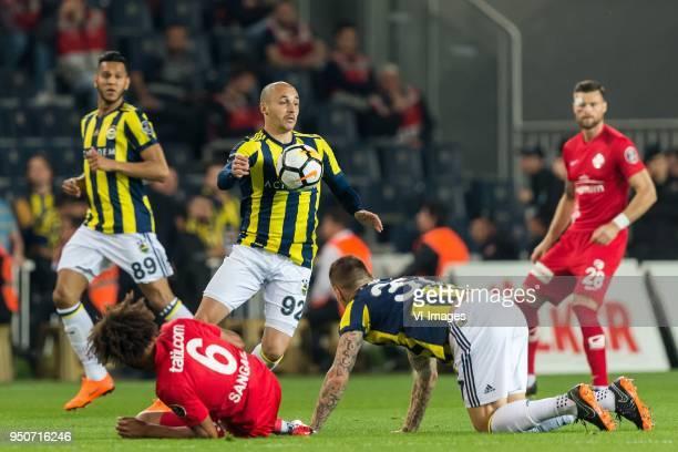 Josef de Souza Dias of Fenerbahce Nazim Sangare of Antalyaspor AS Aatif Chahechouhe of Fenerbahce SK Martin Skrtel of Fenerbahce SK Ondrej Celustka...