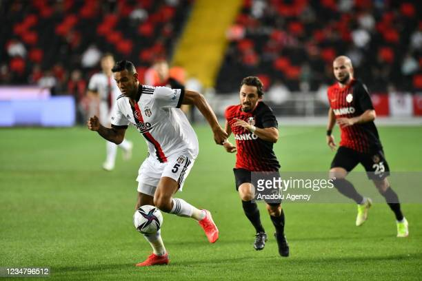 Josef de Souza of Besiktas in action against Recep Niyaz of Gaziantep during Turkish Super Lig soccer match between Besiktas and Gaziantep at Kalyon...