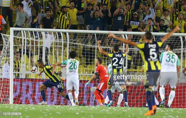 Josef De Souza of Fenerbahce celebrates after scoring a goal during Turkish Super Lig match between Fenerbahce and Bursaspor at Ulker Stadium in...