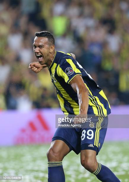 Josef De Souza of Fenerbahce celebrates after scoring a goal during the Turkish Super Lig match between Fenerbahce and Bursaspor at Ulker Stadium in...