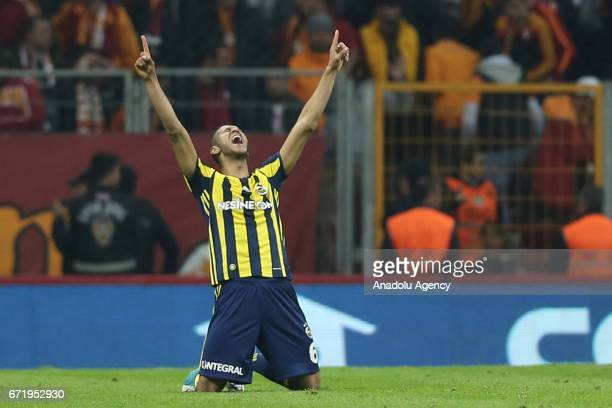 Josef de Souza of Fenerbahce celebrates after scoring a goal during the Turkish Spor Toto Super Lig football match between Galatasaray and Fenerbahce...