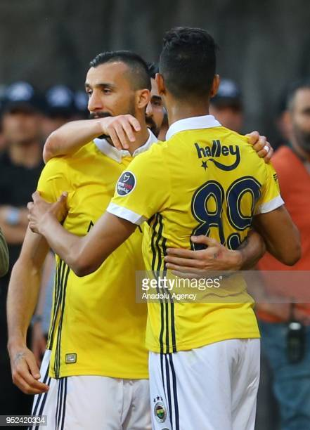 Josef De Souza of Fenerbahce celebrates after scoring a goal during the Turkish Spor Toto Super Lig soccer match between Kasimpasa and Fenerbahce at...