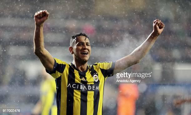 Josef De Souza of Fenerbahce celebrates after winning a Turkish Super Lig soccer match against Medipol Basaksehir at the Fatih Terim Stadium in...