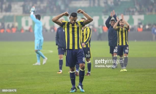 Josef de Souza of Fenerbahce greets fans after the Turkish Super Lig soccer match between Bursaspor and Fenerbahce at Timsah Arena in Bursa Turkey on...
