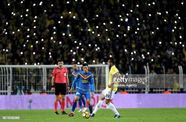 Josef De Souza of Fenerbahce in action against Andre De Castro Pereira of Goztepe during a Turkish Super Lig match between Fenerbahce and Goztepe at...