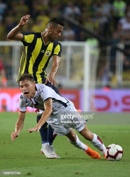 Josef De Souza of Fenerbahce in action against Barella Nicola of Cagliari during a friendly match between Fenerbahce and Cagliari at Ulker Stadium in...