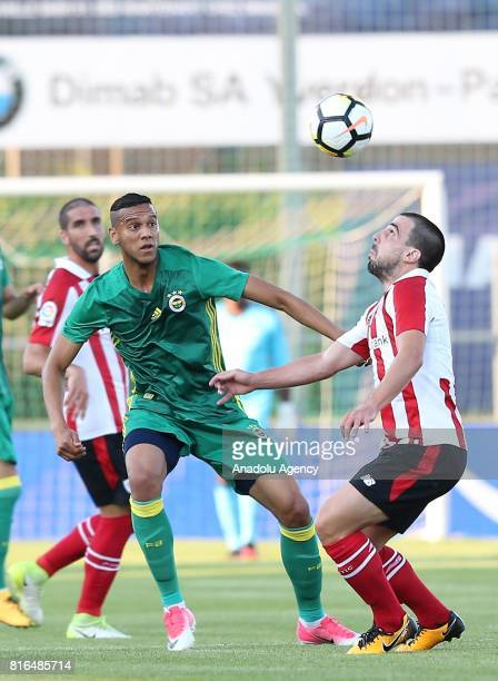 Josef De Souza of Fenerbahce in action against Benat Etxebarria of Athletic Bilbao during the preseason friendly match between Fenerbahce and...