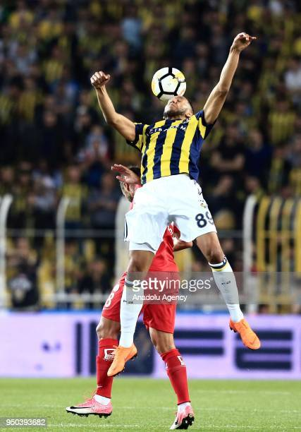 Josef de Souza of Fenerbahce in action against Fernando da Silva of Antalyaspor during Turkish Super Lig soccer match between Fenerbahce and...