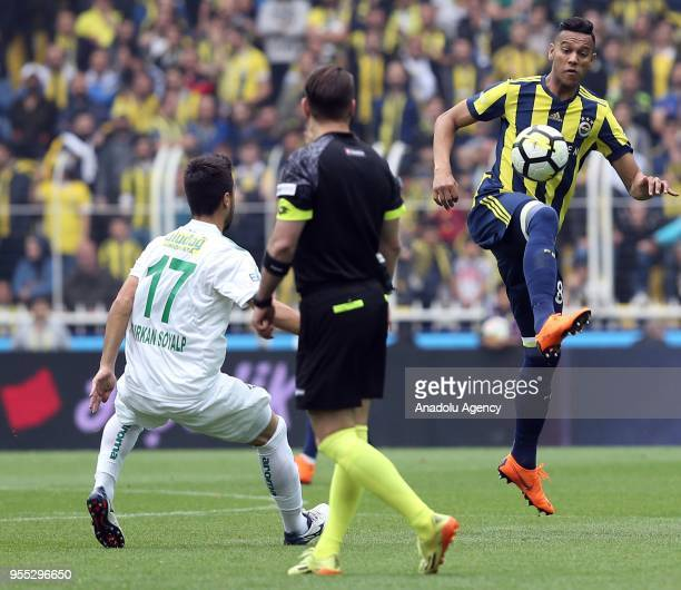 Josef De Souza of Fenerbahce in action against Furkan Soyalp of Bursaspor during Turkish Super Lig soccer match between Fenerbahce and Bursaspor at...