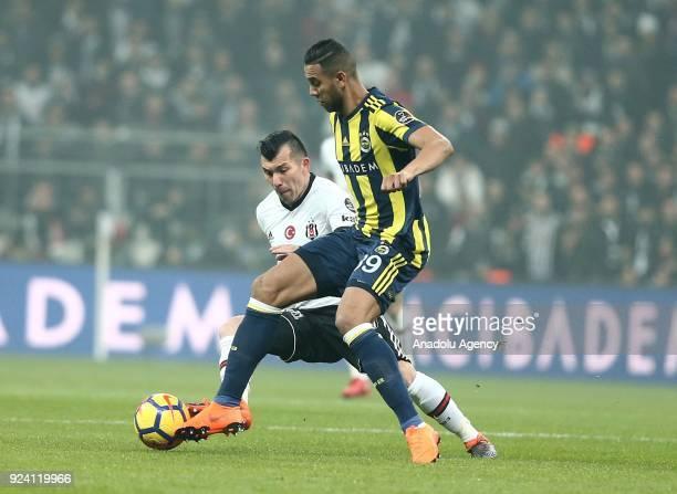 Josef De Souza of Fenerbahce in action against Gary Medel of Besiktas during the Turkish Super Lig soccer match between Besiktas vs Fenerbahce at...