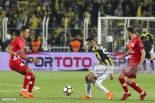 Josef de Souza of Fenerbahce in action against Hakan Ozmert of Antalyaspor during Turkish Super Lig soccer match between Fenerbahce and Antalyaspor...