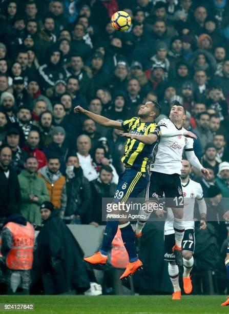 Josef De Souza of Fenerbahce in action against Medel of Besiktas during a Turkish Super Lig soccer match between Besiktas and Fenerbahce at Vodafone...