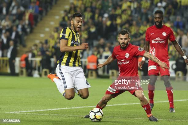 Josef de Souza of Fenerbahce in action against Yekta Kurtulus of Antalyaspor during Turkish Super Lig soccer match between Fenerbahce and Antalyaspor...