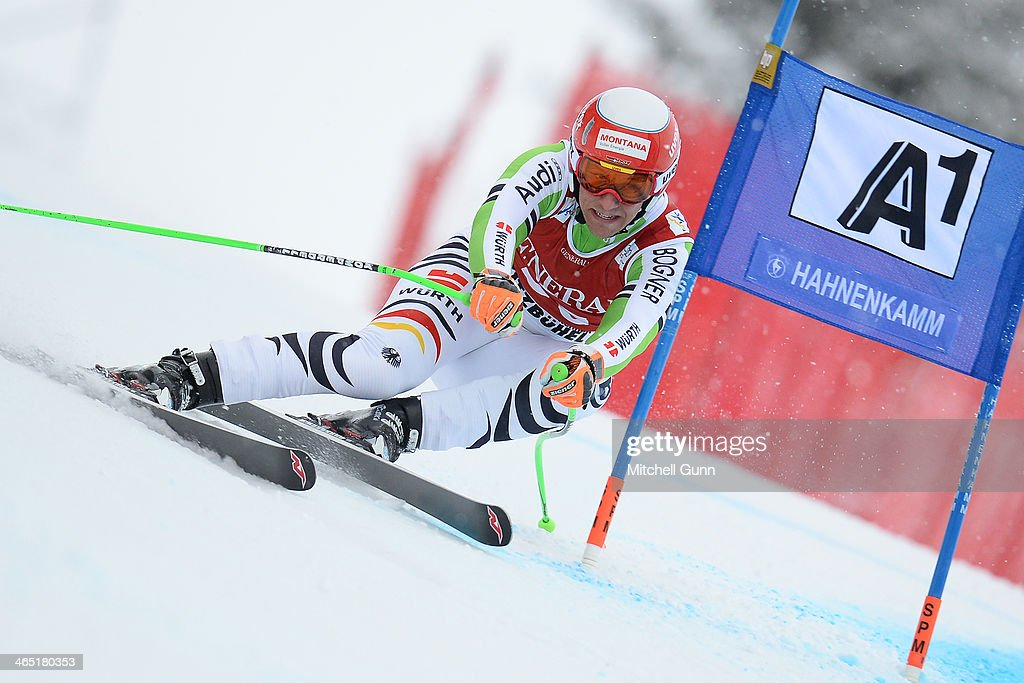 Josef Ferstl of Germany competes in the Super G stage on the Hahnenkamm Course during the Audi FIS Alpine Ski World Cup Super Combined race on January 26, 2013 in Kitzbuhel, Austria.