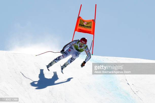 Josef Ferstl of Germany in action during the Audi FIS Alpine Ski World Cup Men's and Women's Downhill Training on March 12 2019 in Soldeu Andorra