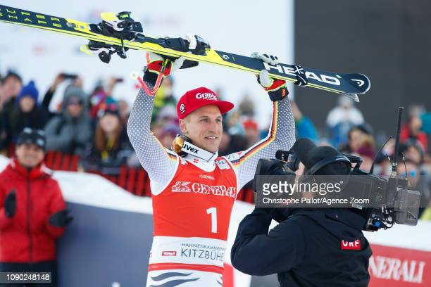 Josef Ferstl of Germany takes 1st place during the Audi FIS Alpine Ski World Cup Men's Super G on January 27 2019 in Kitzbuehel Austria