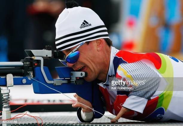 Josef Giesen of Germany competes in the Men's 155KM Standing Biathlon during day one of the Turin 2006 Winter Paralympic Games on March 11 2006 in...