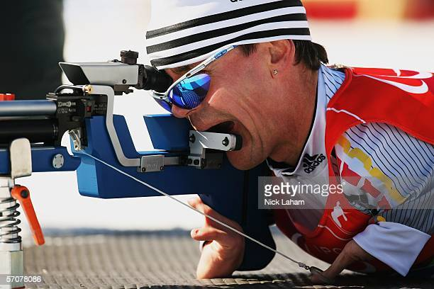 Josef Giesen of Germany competes in the Men's 75 KM Standing Biathlon during Day Four of the Turin 2006 Winter Paralympic Games on March 14 2006 in...