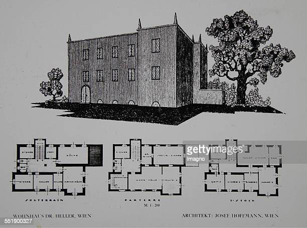 Josef Hoffmann. Project Villa Dr. Hans Heller in Vienna 13th district / Reichsgasse. 1923. Design drawings with floor plans and perspective.