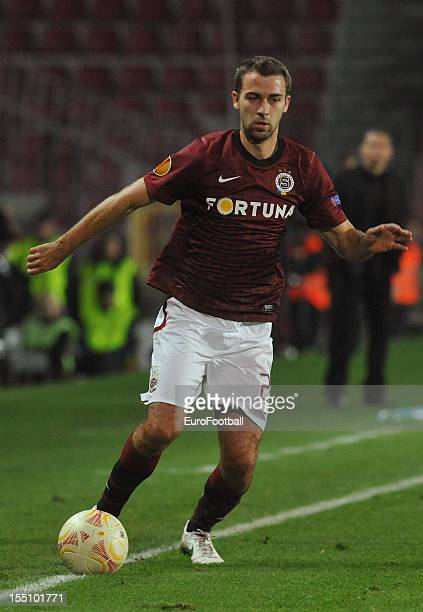 Josef Husbauer of AC Sparta Praha in action during the UEFA Europa League group stage match between AC Sparta Praha and Hapoel Kiryat Shmona FC held...